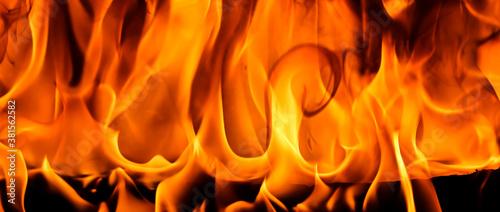 Fotografía Red blaze Fire flame on a black background