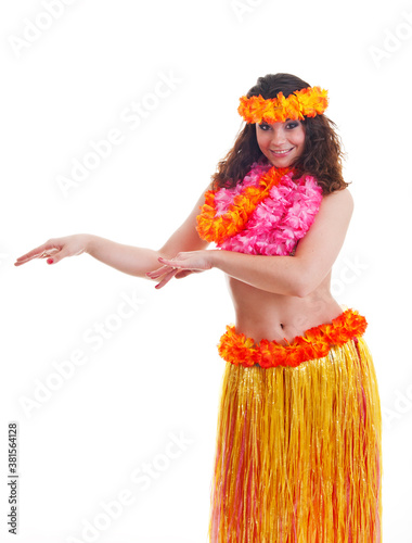 Beautiful young female dancer in traditional Hawaii dress in with orange skirt a Canvas-taulu