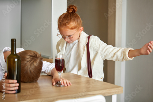 Photo child alcoholism