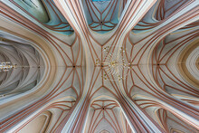 Interior Dome And Looking Up Into A Old Defense Catholic Gotic Church Ceiling