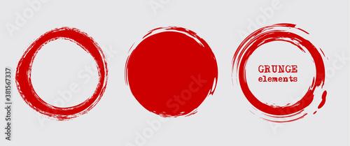Obraz Set of grunge vector round and circle. Grunge background. - fototapety do salonu