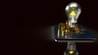 light bulb and gold coins on tablet for idea or business content 3d rendering..