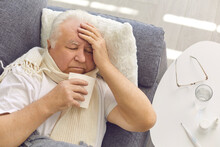 Senior Man Suffering From Cold...