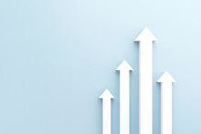 White Arrow Up To Growth Success, 3d Render, Progress Way And Forward Achievement Creative Concept.