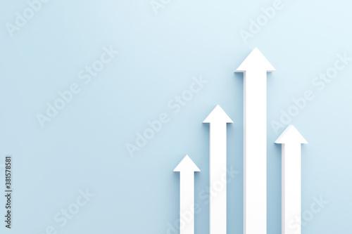 Obraz na plátně White arrow up to growth success, 3d render, progress way and forward achievement creative concept