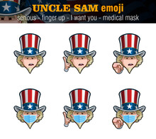 Uncle Sam Emoji - Serious - Index Finger Up - I Want You - Surgical Mask