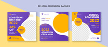 School Admission Square Banner. Suitable For Educational Banner And Social Media Post Template
