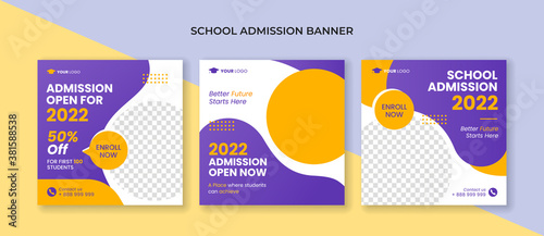 Fototapeta School admission square banner. Suitable for educational banner and social media post template obraz