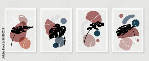 Botanical wall art vector set. boho Foliage line art drawing with  abstract shape.  Abstract Plant Art design for print, cover, wallpaper, Minimal and  natural wall art.