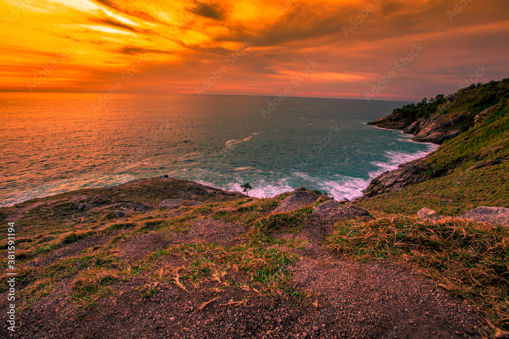 Fototapeta Natural panoramic lakeside nature background, beautiful twilight sunset, blurred meadow wind. Cool weather in the viewpoint or tourist attraction