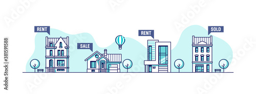 Obraz Real estate  business concept. Set of urban houses. Vector illustration. - fototapety do salonu