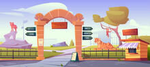 Zoo Gates With Pointers To Wild Animal Cages Monkeys, Crocodiles, Tigers, Grizzly And Hyenas. Outdoor Park Entrance With Cashier Booth, Billboard, Fencing And Stone Pillars Cartoon Vector Illustration