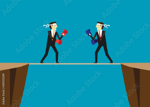 Fényképezés Business people fighting on rope between the cliff