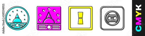 Set Ampere meter, multimeter, voltmeter, Ampere meter, multimeter, voltmeter, Electric light switch and Electrical outlet icon Canvas Print