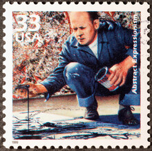 Jackson Pollock At Work On American Postage Stamp