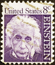 Portrait Of Albert Einstein On American Postage Stamp