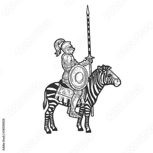 medieval knight riding a zebra sketch engraving vector illustration. T-shirt apparel print design. Scratch board imitation. Black and white hand drawn image.