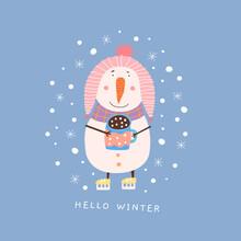 Cartoon Snowman On Skates With...