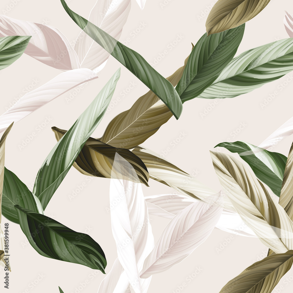 Fototapeta Foliage seamless pattern, heliconia Ctenanthe oppenheimiana plant in green and brown tones on bright brown