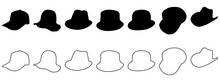 Hats And Headwear. Hat Image Isolated On White Background, Headgear For Man And Woman. Cap Headgears Silhouettes For Ladies And Gentlemen.