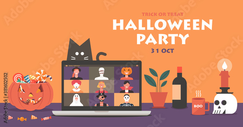 Online Halloween party concept banner on laptop screen, people in horror costumes have video conferencing to celebrate festival with pumpkin and cat, vector flat illustration