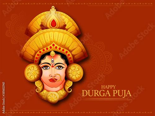 Cuadros en Lienzo illustration of Goddess Durga beautiful Face in Happy Navratri and Durga Puja,