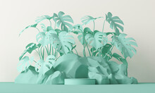 Minimal Scene With Stone And Rock,  Podium, Tropical Palms, Monster Leaves And Abstract Background. Pastel Green Colors Scene. Trendy 3d Render For Social Media Banners, Promotion, Product.