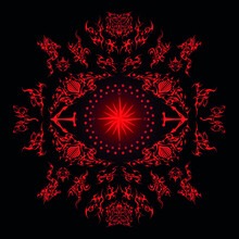 Utopia Faust Ethnic Celtic Compass Pattern Plate Red On Black
