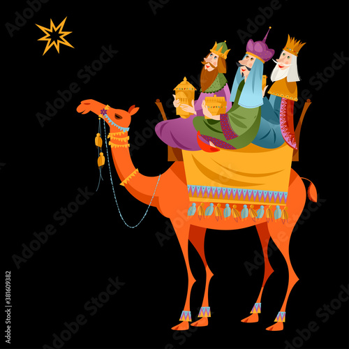 Canvas Print Three biblical Kings (Caspar, Melchior and Balthazar) follow the star