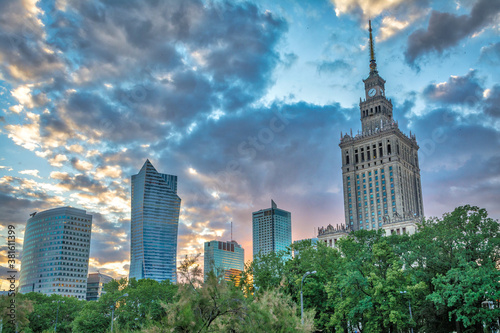 Fotografia, Obraz Warsaw, Poland: 21 May, 2018: Twilight Hour in Centrum Warsaw