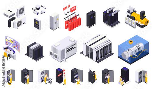 Isometric Data Center Set Fototapet
