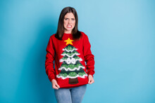 This Sweater Is Disgusting. Photo Portrait Of Displeased Brunette Pulling Holding Sweater With Hands Wearing Jumper Tree Googly Eyes Star Isolated On Pastel Light Blue Colored Background