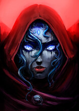 A Beautiful Girl Witch In A Red Hood With Bright Blue Eyes And A Blue Crystal In Her Forehead, Looks Directly At The Viewer, Wait For The Red Moon. 2D Illustration.