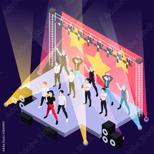 Obraz K Pop Music Isometric Background - fototapety do salonu