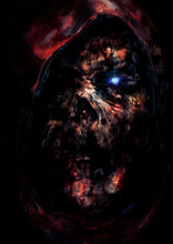 The Creepy Disfigured Face Of A Zombie Necromancer, With A Bright Glowing Eye In A Red Hood. 2D Illustration.