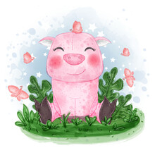 Baby Pig Cute Illustration Sit...