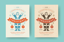 Christmas Party Flyer Invitation Modern Typography And Decoration Elements With Santa Claus.