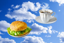 Hamburger On Saucer And White ...
