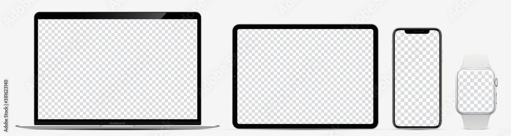 Fototapeta Device screen mockup. Laptop, tablet, smartphone and watch with blank screen for you design. Realistic vector illustration EPS10