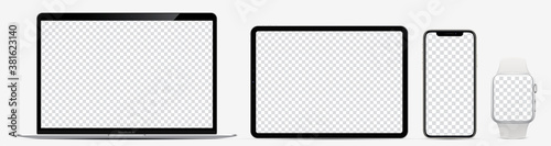 Device screen mockup. Laptop, tablet, smartphone and watch with blank screen for you design. Realistic vector illustration EPS10 - 381623140