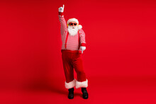Full Length Body Size View Of His He Handsome Bearded Fat Overweight Cool Comic Childish Santa Listening Hit Dancing Having Fun Fooling Isolated Bright Vivid Shine Vibrant Red Color Background