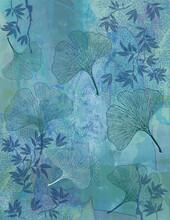 Fond Feuillage Bambou Et Feuilles Ginkgo En Bleu - Illustration