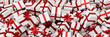 canvas print picture - Viele rot weiße Geschenke zu Weihnachten auf Haufen