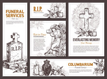 Funeral Service Vector Hand Drawn Design Banners. Sketch Illustration For Condolence Card And Advertising Of Columbarium And Cemetry With Urn For Ashes, Vintage Tombstone Angel, Wreath, Cross