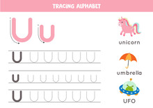 Tracing Alphabet Letter U With Cute Cartoon Pictures.