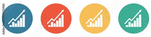 Bunter Banner mit 4 Buttons: Diagramm mit steigendem Verlauf Canvas Print