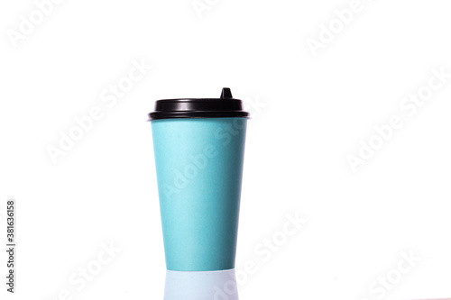 Fototapeta Disposable blue blank paper coffee cup isolated on white background