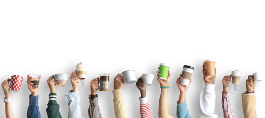 People are holding mugs and paper cups of coffee. Concept on the theme of cafes and coffee.