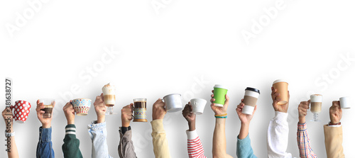 People are holding mugs and paper cups of coffee. Concept on the theme of cafes and coffee. - 381638727