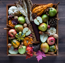 Top Down View Of An Assortment Of Autumn Fruits And Decorations.